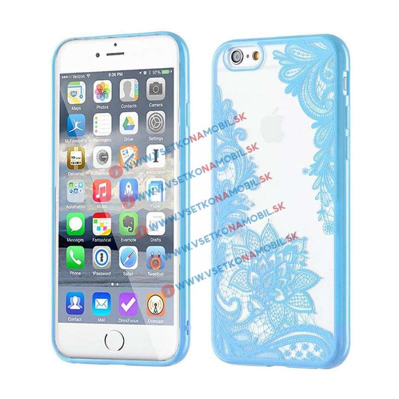 FORCELL HENNA FLOWERS silikónový obal Apple iPhone 6 / 6S modrý
