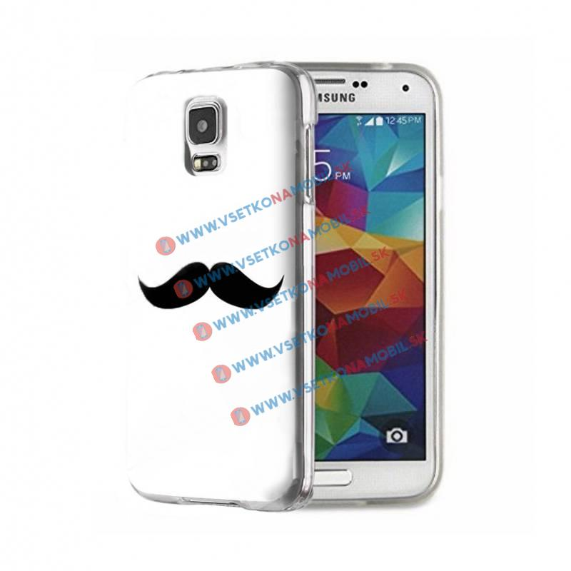 FORCELL ART Silikónový obal Samsung Galaxy S5 MOUSTACHE WHITE
