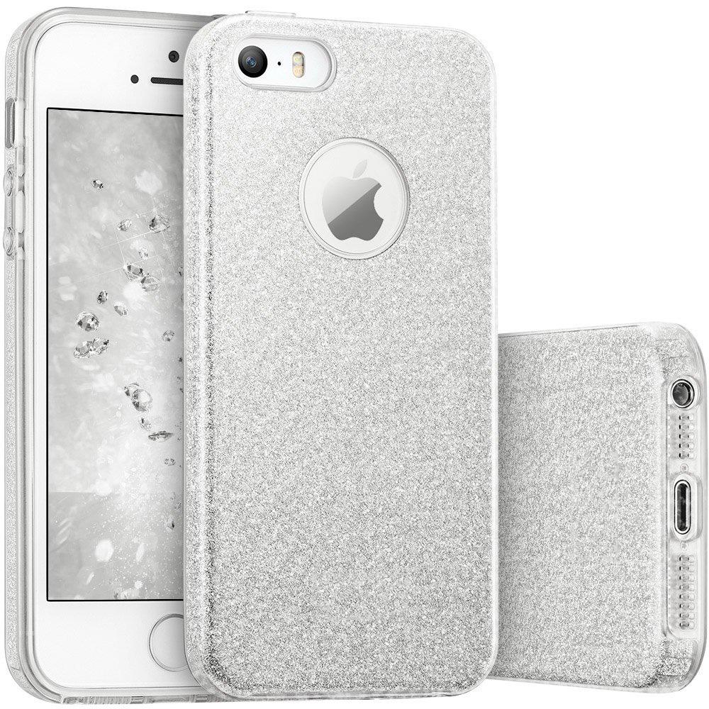 FORCELL SHINING Ochranný obal Apple iPhone 5 / 5S / SE strieborný