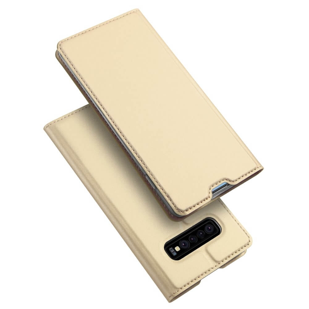 DUX Peňaženkový kryt Samsung Galaxy S10 Plus zlatý
