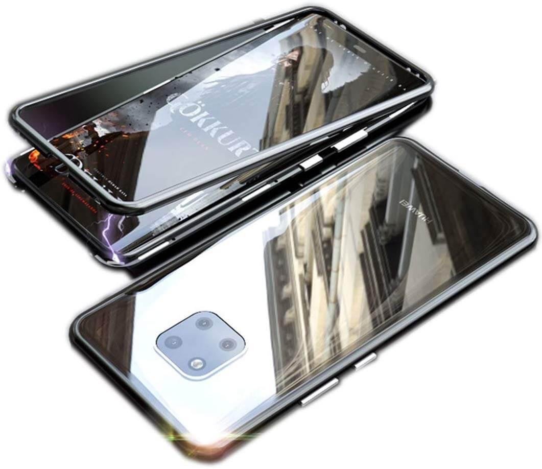 FORCELL Púzdro Magnetic Case 360 + temperované sklo 9H Huawei Mate 30 Lite čierne- čiré