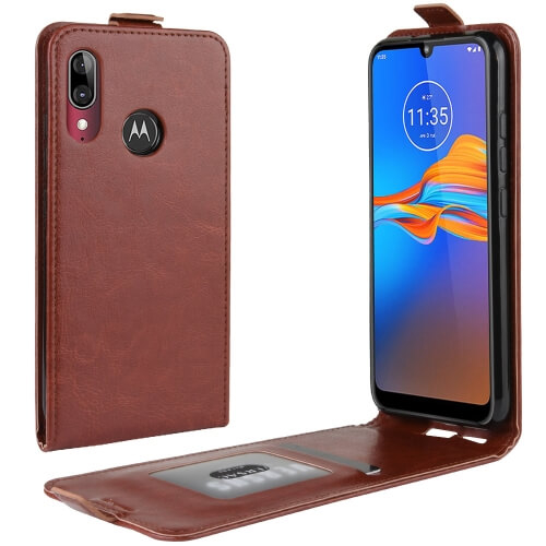 FORCELL Vyklápacie puzdro Motorola Moto E6 Plus hnedé