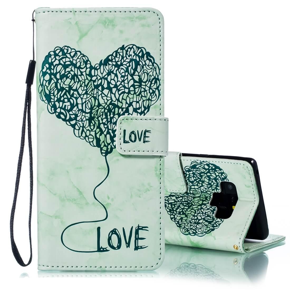 FORCELL ART Peňaženkový obal Samsung Galaxy Note 9 LOVE GREEN