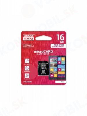 Pamäťová karta GOODRAM microSDHC 16GB UHS-I + adaptér (M1AA-0160R11)