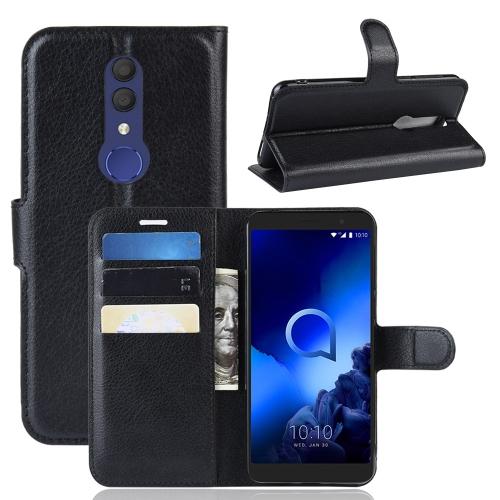 FORCELL LITCHI Peňaženkový kryt Alcatel 1X 2019 čierny