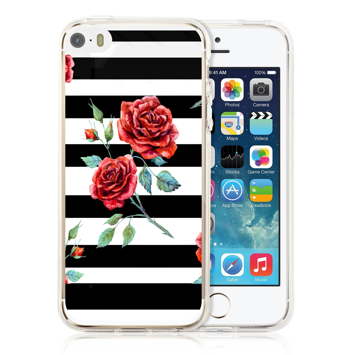MY ART kryt Apple iPhone 5 / 5S / SE BLACK WHITE (034)