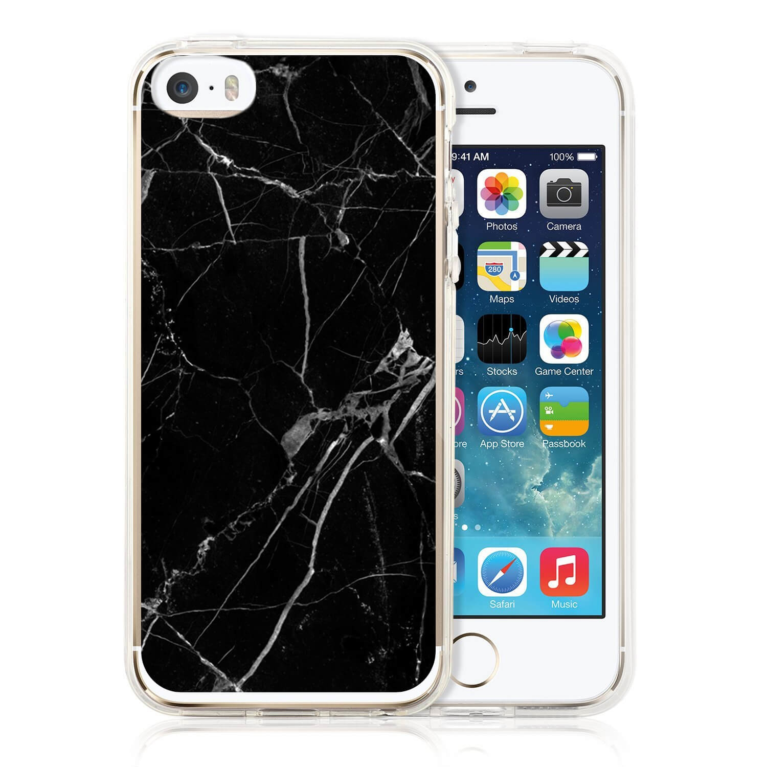 FORCELL MY ART kryt Apple iPhone 5 / 5S / SE BLACK MARBLE (017)