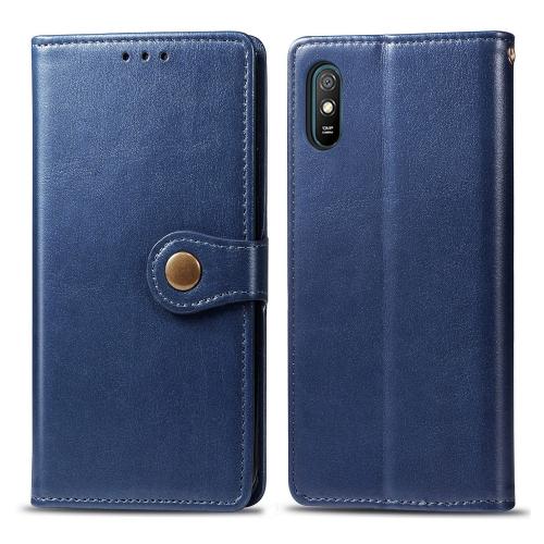 FORCELL LEATHER BUCKLE Peňaženkový obal Xiaomi Redmi 9A / 9AT modrý