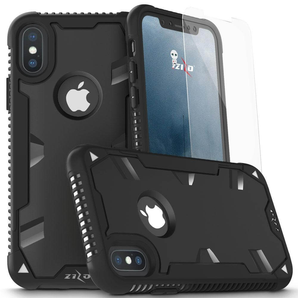 ZIZO PROTON 2.0 Kryt + 9H temperované sklo Apple iPhone X / XS čierny/čierny